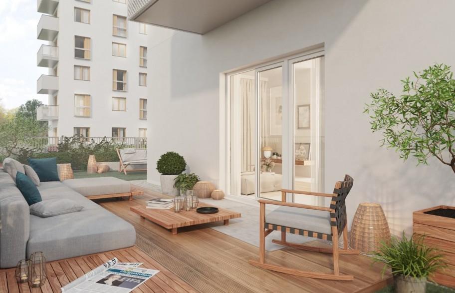 Przykład aranżacji ogródka w mieszkaniu parterowym