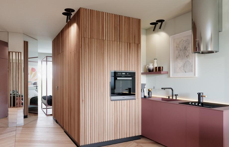 Przykładowa aranżacja mieszkania 58 m2 | aneks kuchenny