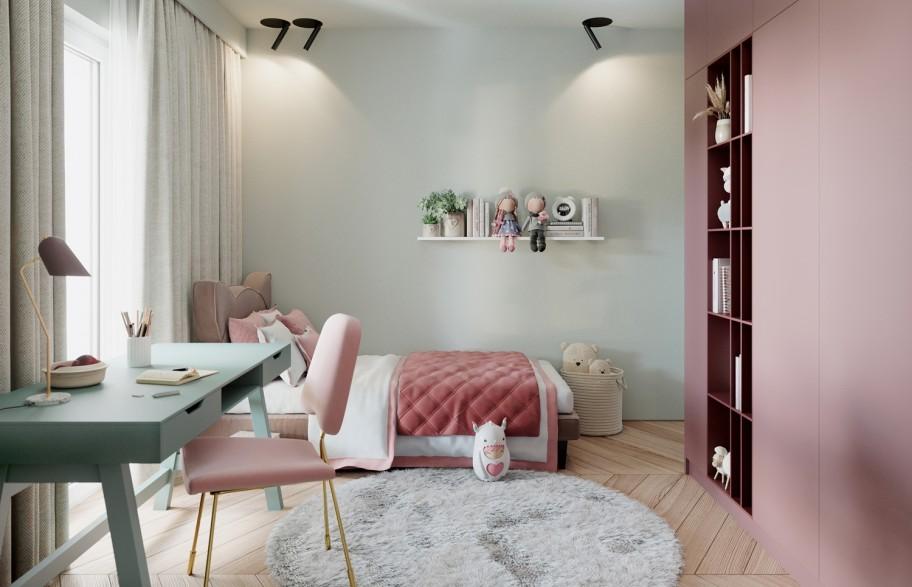 Przykładowa aranżacja mieszkania 58 m2 | pokój dziecięcy