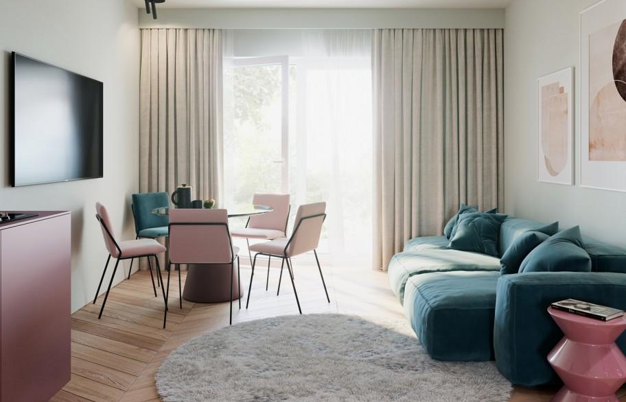 Przykładowa aranżacja mieszkania 58 m2 | salon