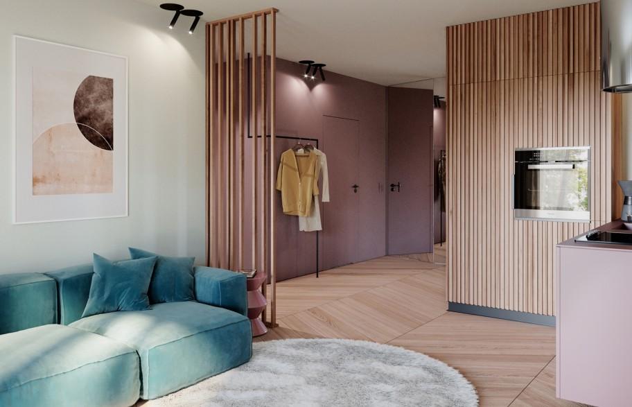 Przykładowa aranżacja mieszkania 58 m2 | salon z aneksem kuchennym