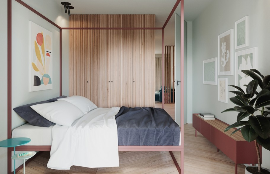 Przykładowa aranżacja mieszkania 58 m2 | sypialnia